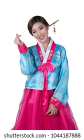 Korean girl in hanbok korean dress with isolated background and love action