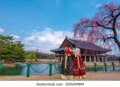 Korean girls dressed hanbok in traditional dress at gyeongbokgung palace seoul korea