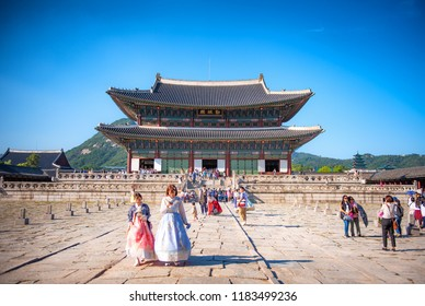 korean girls dressed hanbok in traditional dress at gyeongbokgung palace:  17 september 2018 seoul korea