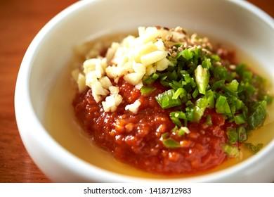 Korean gochujang, garlic and spring onion sauce