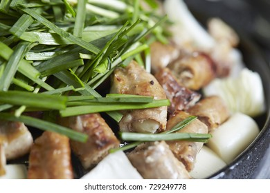 Korean grilled garlic chives and pork