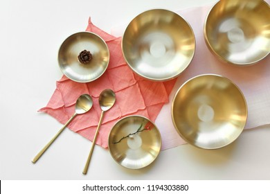 Korean high quality brass tableware. Top view.