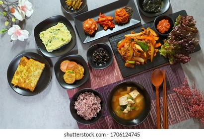 Korean homemade meal  and traditional dishes