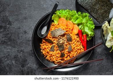 Korean hot spicy chicken flavor ramen instant noodles, stir fried noodle.
