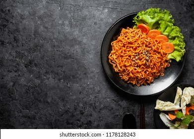 Korean hot spicy chicken flavor ramen instant noodles, stir fried noodle.