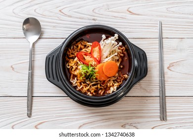 korean instant noodles in black bowl - korean food style