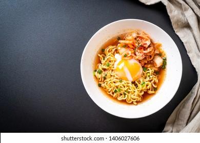 Korean instant noodles with kimchi and egg - Korean ramen style