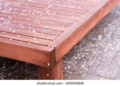 Korean low wooden bench with cherry blossom