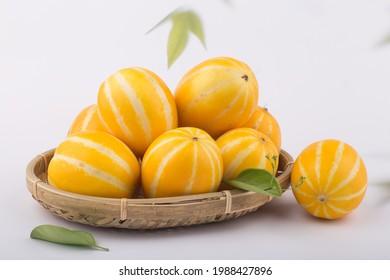 Korean Melon or oriental malon on white background.