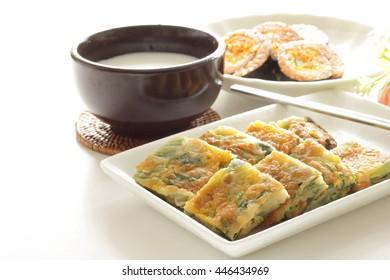 korean pan cake Jijim and Makgeolli