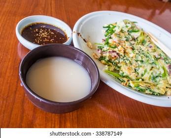 Korean pancake and Korean rice wine