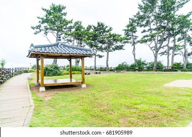 Korean Pavillian at Jeju-do Oedolgae Rock  Park in Jeju Island, South Korea