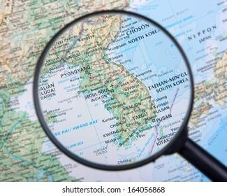 Korean peninsula under magnifier