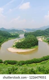 Korean Peninsula-shaped Cliffs (Hanbando Wetland) and river at Seonam Village in Yeongwol, Gangwon-do, Korea
