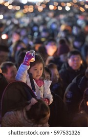 The Korean people, December 3, 2016, Seoul, Candlelight protests, Peacefully marching, Wanting to impeach President Park,