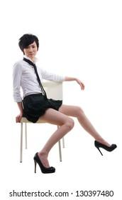 korean punk young asian girl sitting
