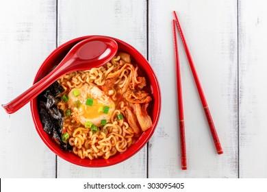 Korean Ramen with Kimchi and seaweed