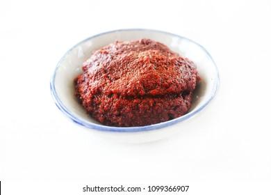 Korean red pepper paste gochujang isolated