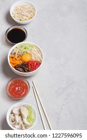 Korean rice dish Bibimbap. Usually served as a bowl of warm white rice topped with vegetables and egg