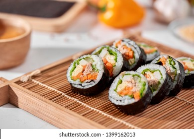 Korean roll Gimbap(kimbob) made from steamed white rice (bap) and various other ingredients