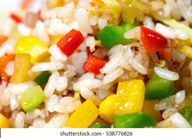 Korean salad with corn and pepper in white dish