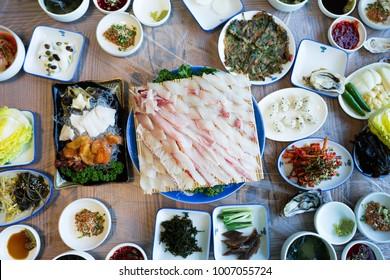 Korean sashimi set, raw fish set