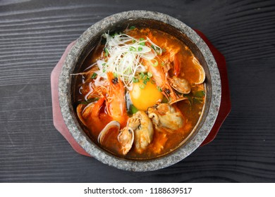 Korean sea food soft tofu stew