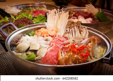 Korean seafood hot pot with sea crab, clams, shrimp and octopus