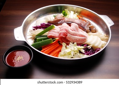 Korean seafood and pork belly hot pot
