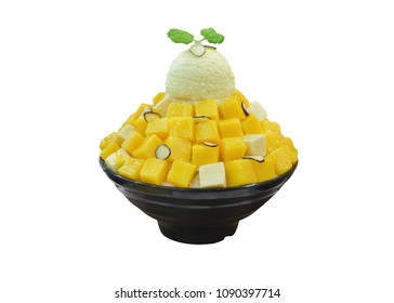 Korean shaved ice cream dessert with sweet toppings, Mango Bingsu or Bingsoo with fresh milk and whipping cream in korea style on white background with clipping paths.