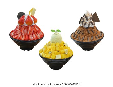 Korean shaved ice dessert with sweet toppings, Bingsu Variety of flavors or ice snow flake with fresh milk and whipping cream in korea style on black cup.