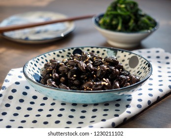 Korean side dishes Spinach seasoned and Simmered bean soy sauce