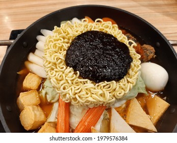 korean soup with readymade noodles and the tofu crabstick and egg on top