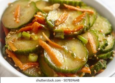Korean spicy cucumber salad:  Oi-muchim
