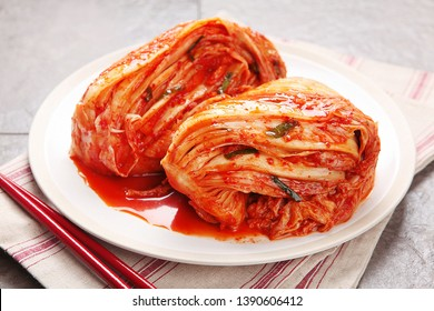 Korean spicy kimchi made with cabbage on a plate