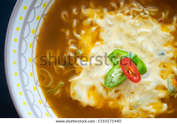 Korean Spicy Noodle Cheesefusion Food Traditional Stock Photo
