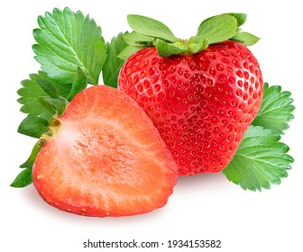 Korean Strawberry with leaf isolated on white background, Red strawberry on white, (With clipping path)