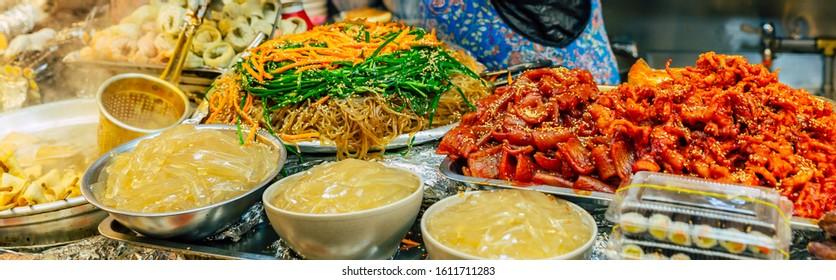 Korean street food at the Gwangjang market in Seoul