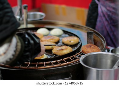 korean sweet pancakes of a street vendor at insadong, Seoul, South Korea