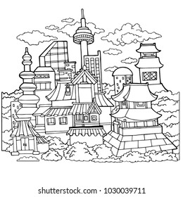 Korean Town Detailed Coloring Page