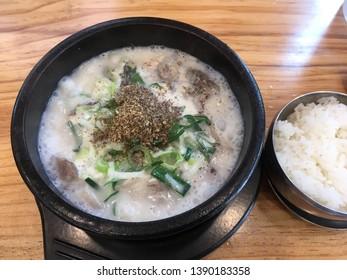 Korean tradition food, sundae gukbap in ttukbaegi. sundae gukbap is Korean style sausages  soup and eat with rice. ttukbaegi is earthen pot