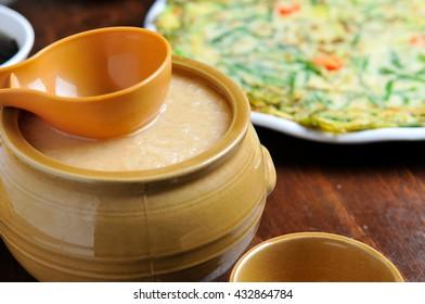 korean traditional alcohol drink makgeolli, rice wine