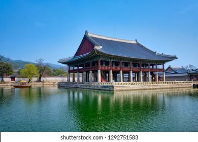 Korean traditional architecture - Gyeonghoeru Pavillion (Royal Banquet Hall) in Gyeongbokgung Palace tourist destianation, Seoul