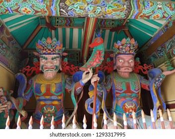 Korean Traditional Architecture and statue of the four heavenly guardians