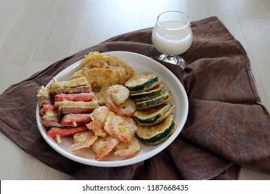 Korean traditional cuisine, various pancakes and makgeolli.
