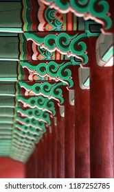 The Korean traditional decoration for a corridor of royal palaces. Painting of cross beams (dancheong) is really colorful and artistic.