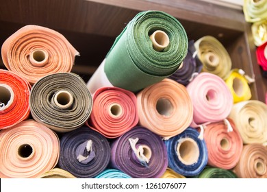 Korean traditional fabric rolls at shop