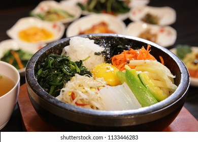 Korean traditional food 'Bibimbap' with various vegetables in harmony.