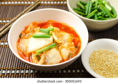 Korean traditional food cabbage salad with hot pepper (kimchi)
