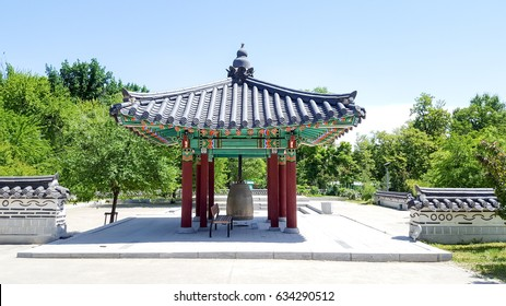 Korean traditional gazebo with the bell inside